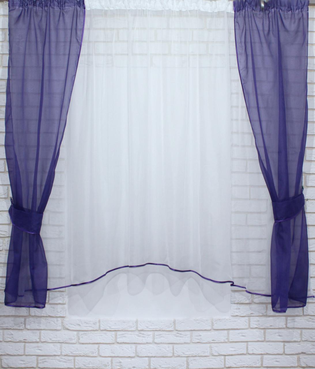 Комплект кухонні шторки з підв'язками, колір фіолетовий з білим