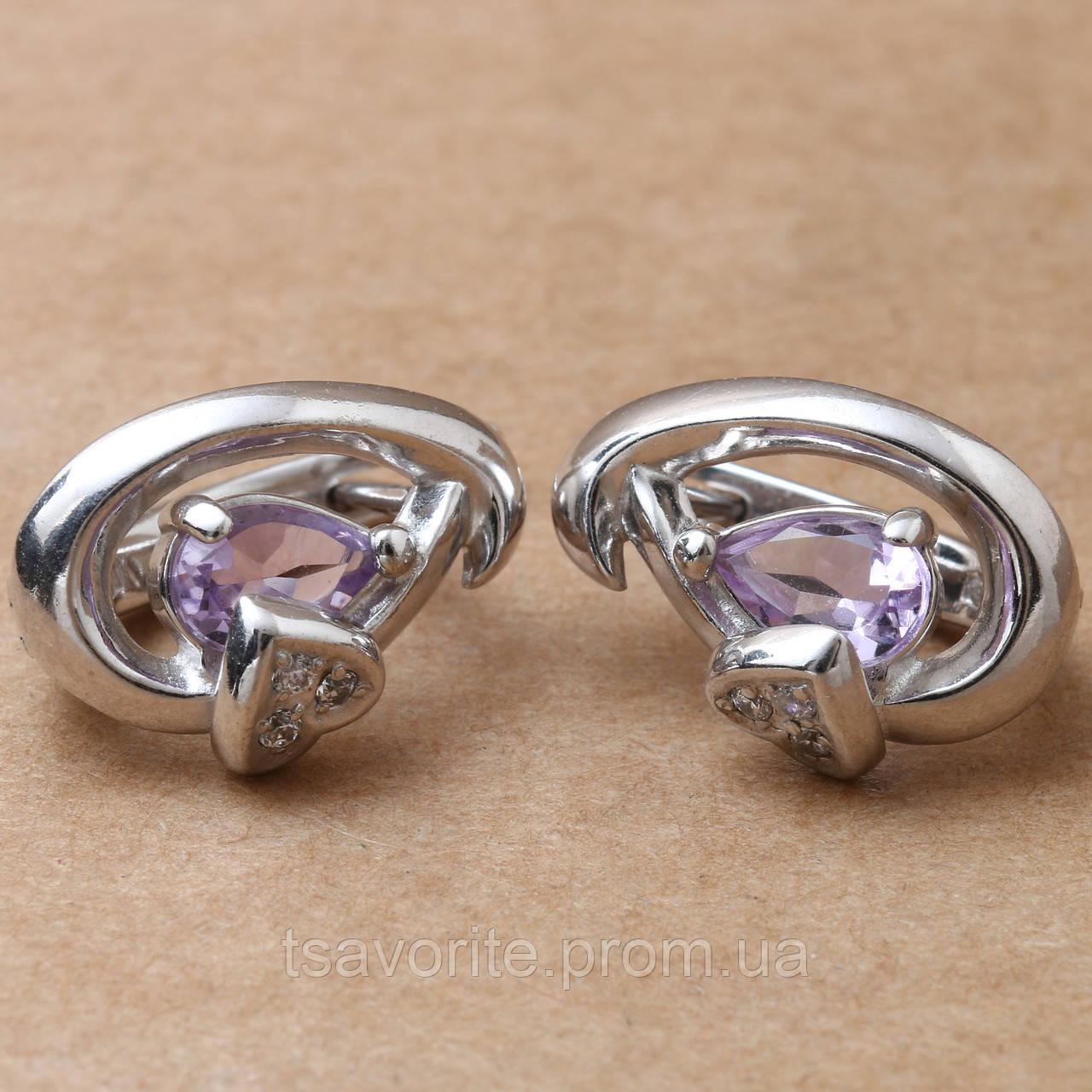 Серебряные серьги с аметистом СЖХ-49