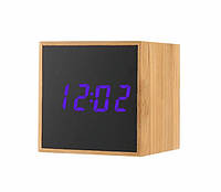 Стильные электронные часы куб TS-M01 под дерево Фиолетовая подсветка 300178PU, КОД: 1717712
