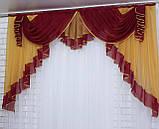 Ламбрекен на карниз 2м. №107 Цвет бордовый с янтарным, фото 2