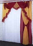 Ламбрекен с шторкой на карниз 2м. №107 Цвет бордовый с янтарным, фото 2