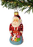 """Стеклянная елочная игрушка """"Дед Мороз с подарками"""""""
