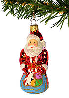 """Стеклянная елочная игрушка """"Дед Мороз с подарками"""" ИФ1039"""