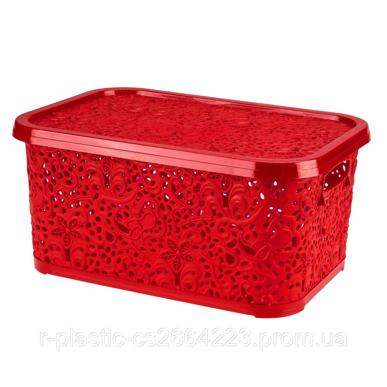 """Кошик R-Plastic """"Ажур"""" 10л 33,5*23,5*16см червона"""