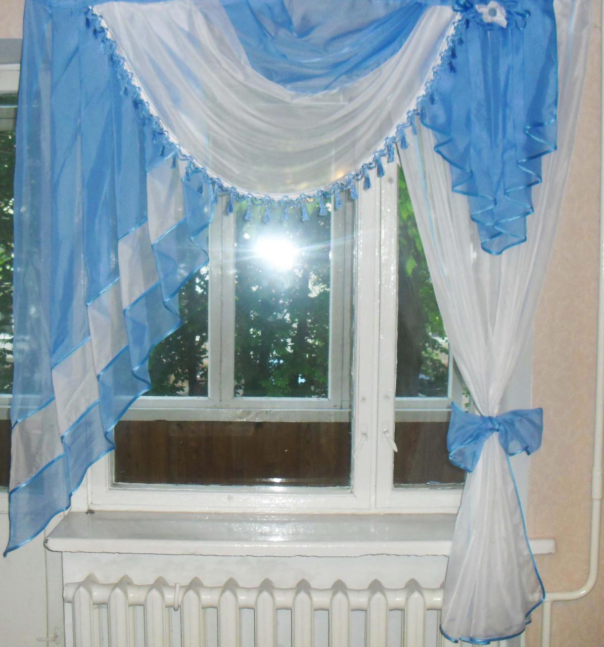 Ламбрекен №27а на карниз 1.5м. с шторкой Цвет голубой