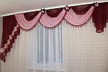 Ламбрекен ширина 3м. №27 Бордовый с розовым, фото 2