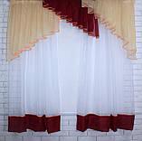 Кухонная занавесь, шторки с ламбрекеном. Цвет янтарный с бордовым. На карниз 1,5-2м. №49, фото 3