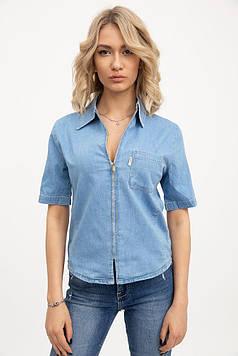 Джинсовая рубашка женская цвет Голубой