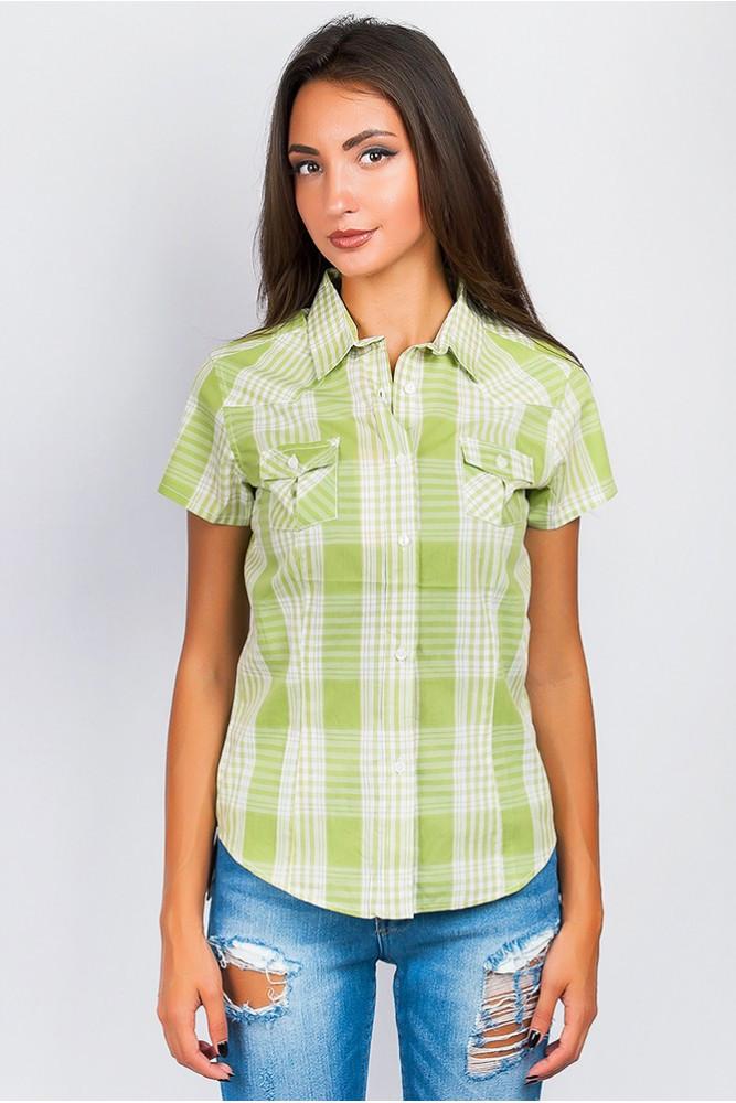 Рубашка женская светлая короткий рукав цвет Оливково-молочный
