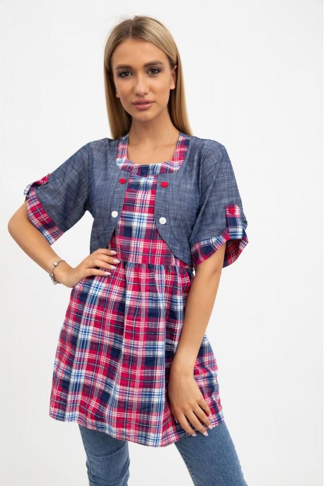 Рубашка женская  цвет Розово-синий