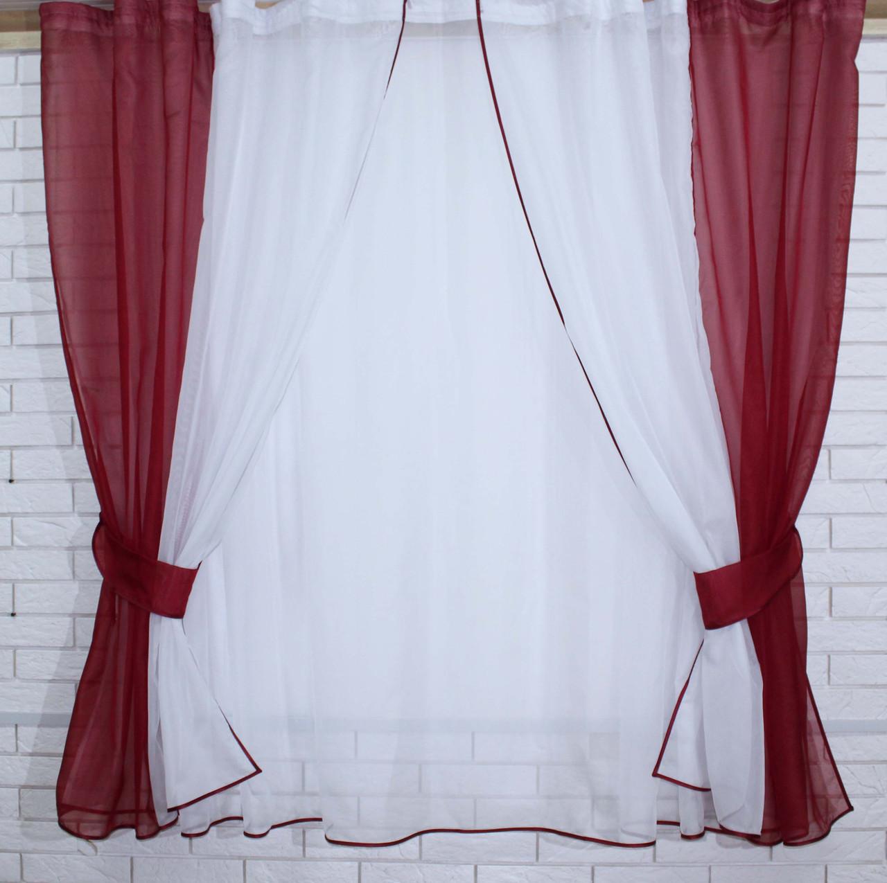 Комплект на кухню, тюль и шторки №38, Цвет бордовый с белым 50-032