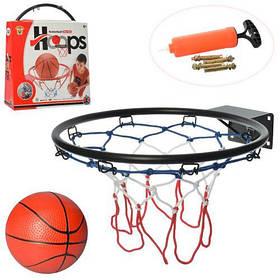 Баскетбольное кольцо M 5965 металл, 32см, сетка, мяч, насос, в кор-ке,32-39-8см