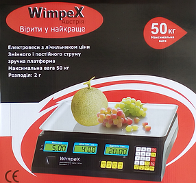 ВЕСЫ ТОРГОВЫЕ WIMPEX 50 КГ (6 V)