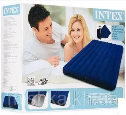 Надувной матрас Интекс, полуторный, набор,152-203-25 см
