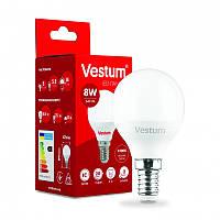 LED лампа  Vestum  / G-45  / 8 w / 4100k / e-14 /  Standard ( ШАРИК )