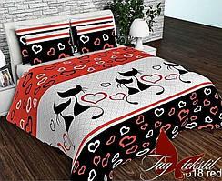 Семейный комплект постельного белья -ранфорс R618red
