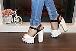 Босоножки женские белые на каблуке Б35, фото 5
