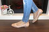 Туфли балетки женские бежевые замшевые Т1087, фото 5