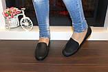 Мокасины туфли женские черные натуральная кожа Т1090, фото 5