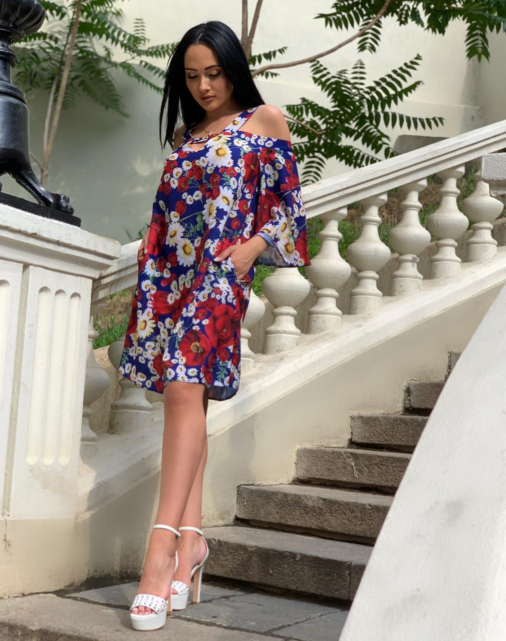 Платье женское синее с цветочным принтом П164
