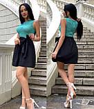 Платье женское черное с бирюзовым П166, фото 3