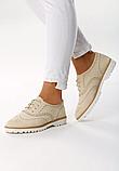 Туфли женские бежевые на шнурках Т013, фото 5