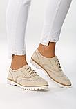 Туфли женские бежевые на шнурках Т013, фото 7