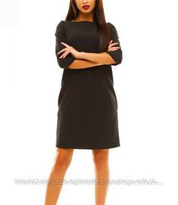 Красивое однотонное офисное платье разных цветов креп-костюмка. рукав 3/4, р.42/44/46/48/50/52/