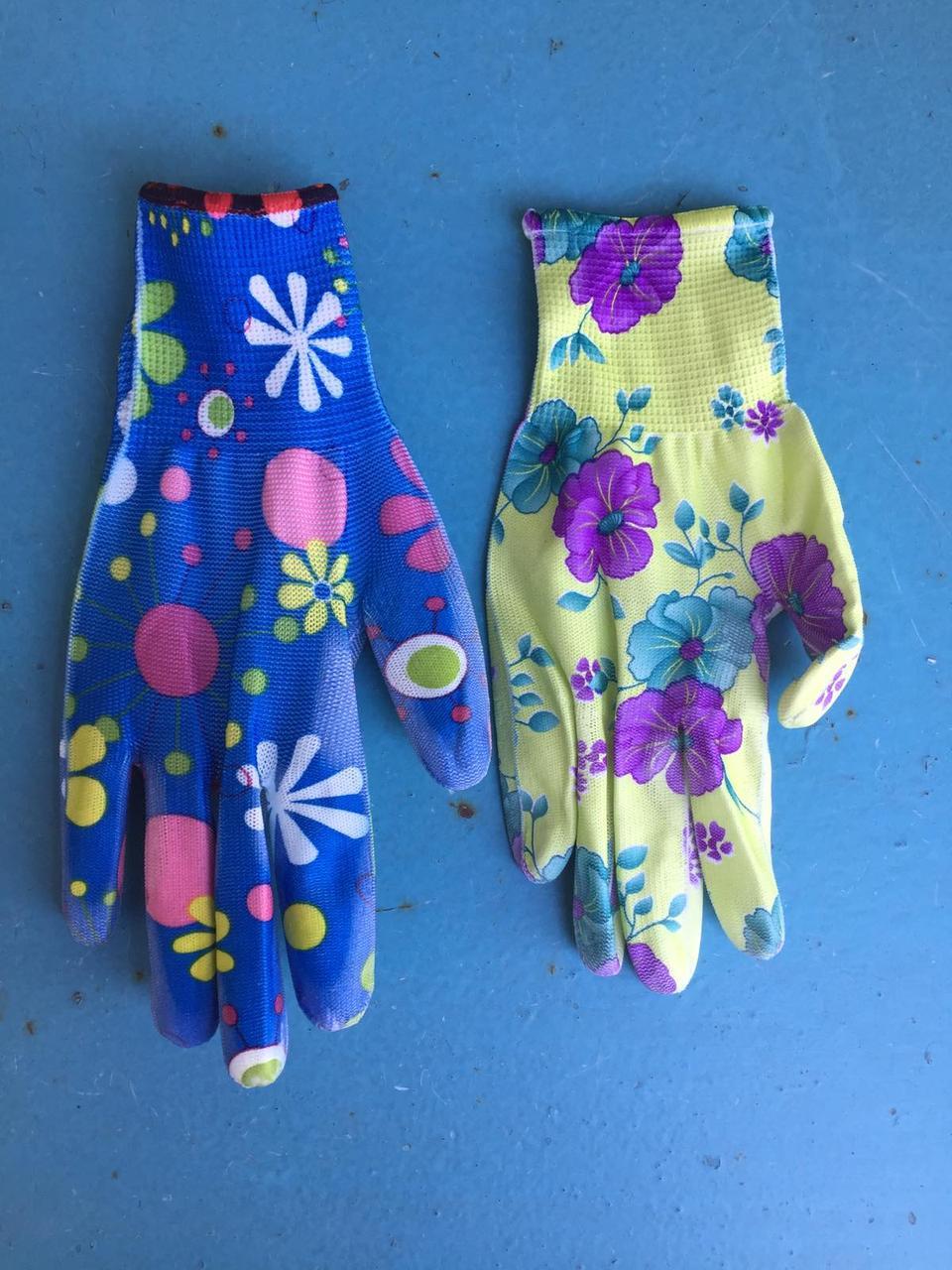 Рукавички садові з поліестеру з нітрильну обливом Перчатки садовые из полиэстера с нитрильным обливом, цветные