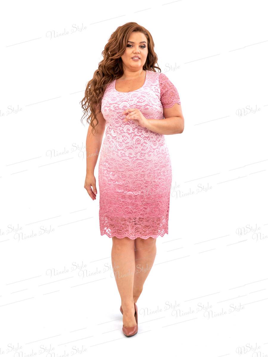 Розовое гипюровое платье 457-2 54