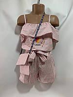 """Комбенизон дитячий для дівчинки з сумочкою в смужку """"Likee"""" 6-10 років, колір уточнюйте при замовленні, фото 1"""