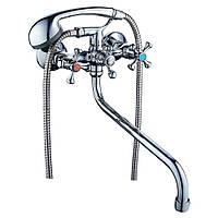 """Смеситель VN 1/2"""" для ванны гусак изогнутый дивертор встроенный шаровый TAU (VN-5C460C)"""