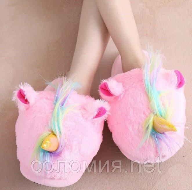 Домашние женские розовые тапочки Единороги