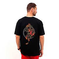 Футболка мужская с принтом, чоловіча футболка з принтом, Over Size Dragon Черный