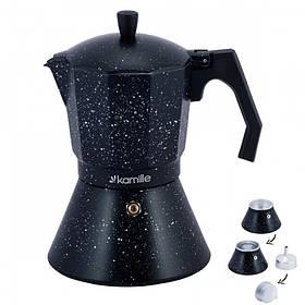 Кофеварка гейзерная Kamille 600 мл (12 порции) алюминиевая с широким индукционным дном КМ-2514MR