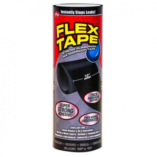 Водонепроникна ізоляційна клейка стрічка скотч 30х150 см Флекс тейп Flex Tape чорний