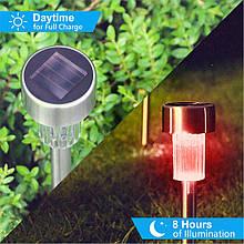 Садовый светильник цветной на солнечной батарее