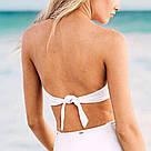 Купальник Бандо с вышивкой Victoria's Secret Лиф L/ Плавки M, Белый с голубым, фото 2