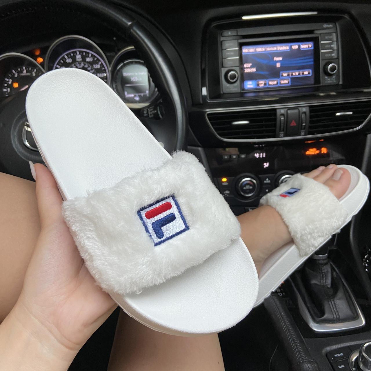 Женские шлепанцы  Fila Faux Fur Pool Slide Sandals White.