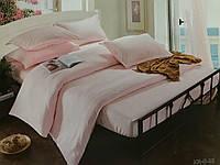 Комплект постельного  белья Страйп Сатин  Розовый двуспальный