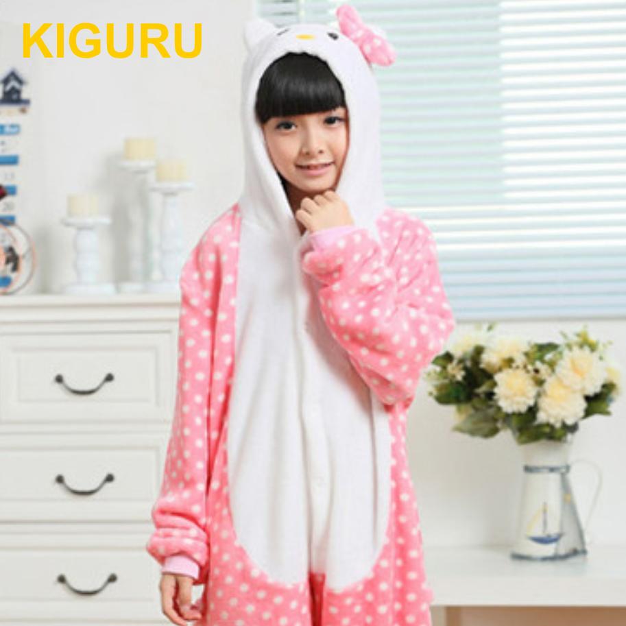 Детская теплая пижама Hello Kitty в горошек