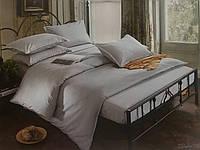Комплект постельного  белья Страйп Сатин Серый евро