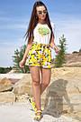 Летние шорты женские лён с цветами жёлтые, фото 4