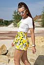 Летние шорты женские лён с цветами жёлтые, фото 5