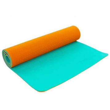 Коврик для фитнеса и йоги (йога мат) Zelart двухслойный 1730*610*6 мм орнанжево - мятный ZEL PROFI-5172-1