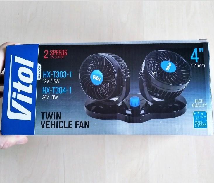 "Вентилятор 4"" 12 V (двойной, две скорости) Vitol HX-T303-1"