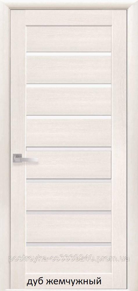Двери межкомнатные Мода Леона Новый Стиль Экошпон со стеклом сатин 60, 70, 80, 90
