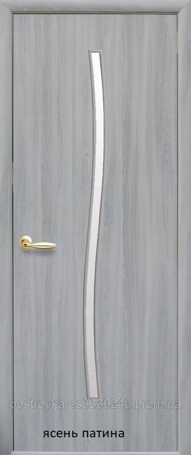Двери межкомнатные Модерн Гармония Новый Стиль Экошпон со стеклом сатин 60, 70, 80, 90