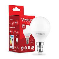 LED лампа  Vestum  / G-45  / 6 w / 4100k / e-14 /  Standard ( ШАРИК ), фото 1