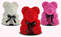 Мишка из искусственных роз 25 см в подарочной коробке / Мишка из цветов / Оригинальный подарок девушке